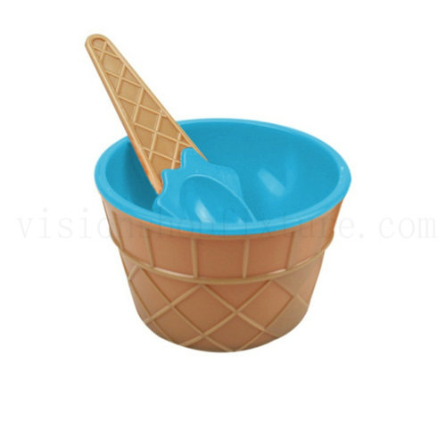 Cute Plastic Ice Cream Bowl with Spoon Dessert Cup Containe